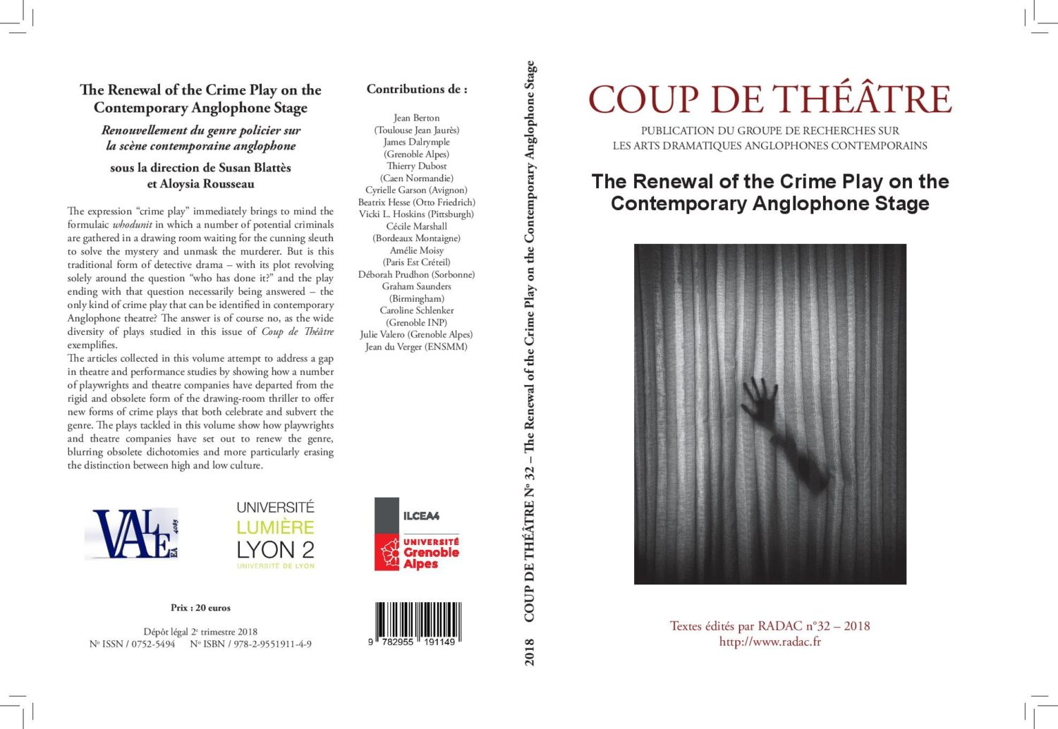 Publication: Aloysia Rousseau et Susan Blattes, éd., « The Renewal of the Crime Play », RADAC, 2018