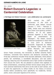 PAR: Sillages Critiques, 29, «Robert Duncan's Legacies: A CentennialCelebration»